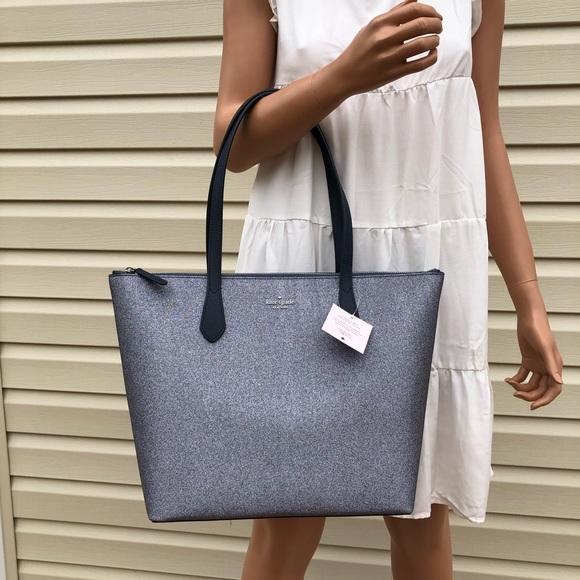Kate Spade Joeley Glitter Tote Bag Dusknavy
